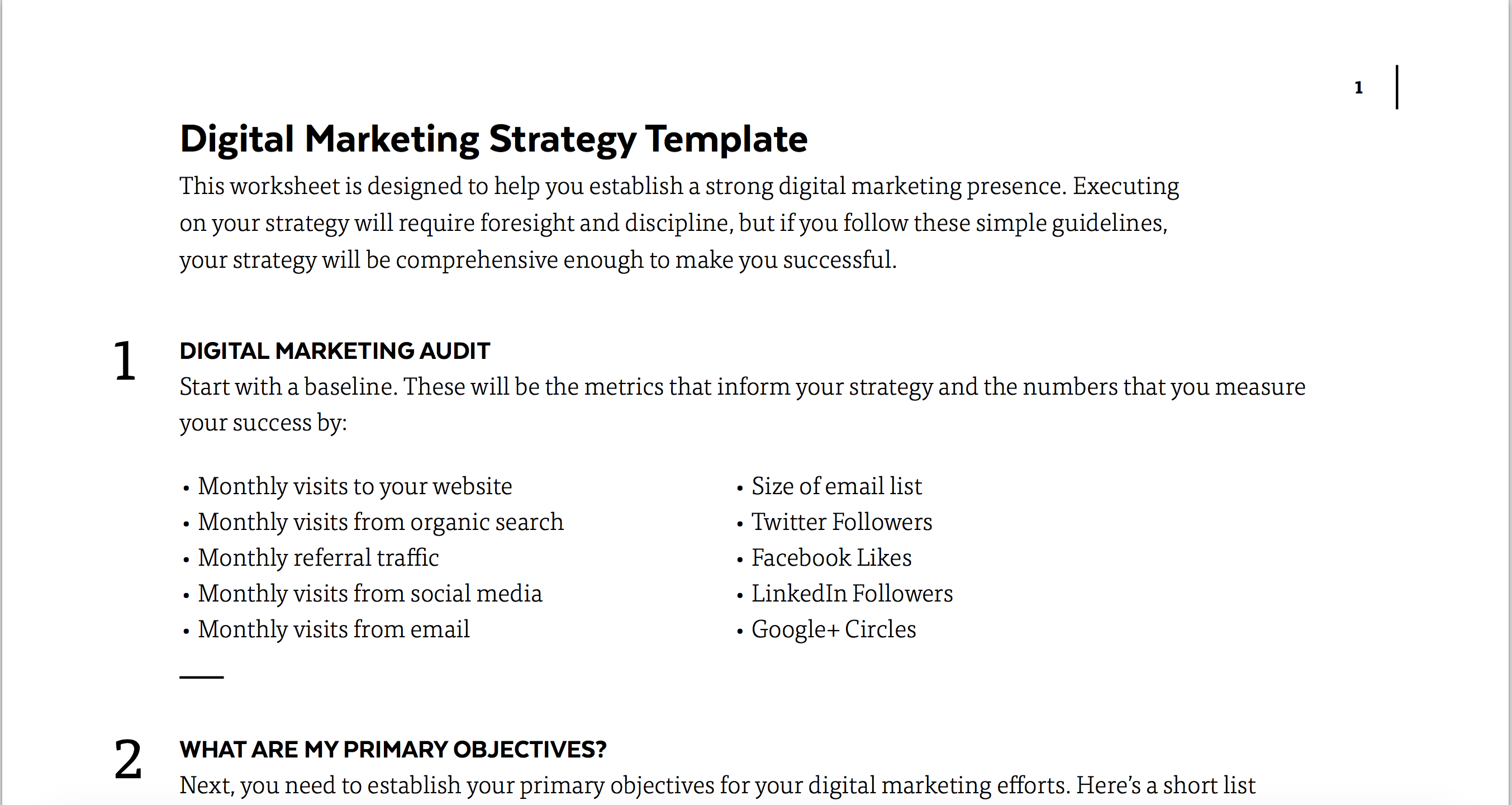 Digital Marketing Strategy Template | The Daily Egg
