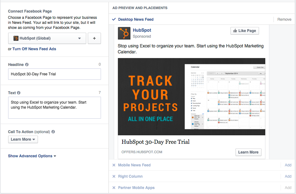 Hubspot facebook ad preview