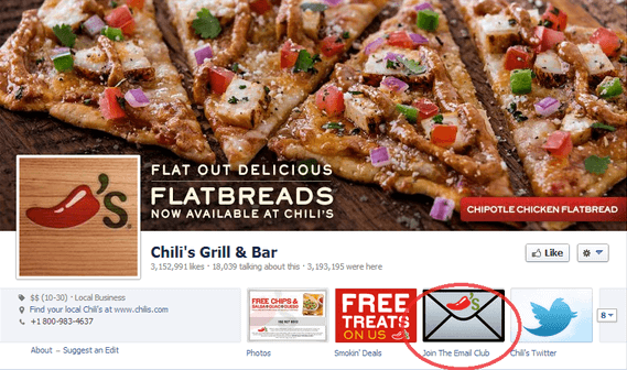 chilis facebook email sign up