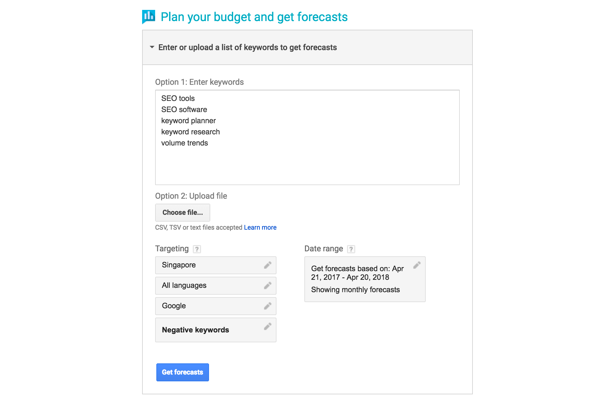 plan your budget and get forecasts