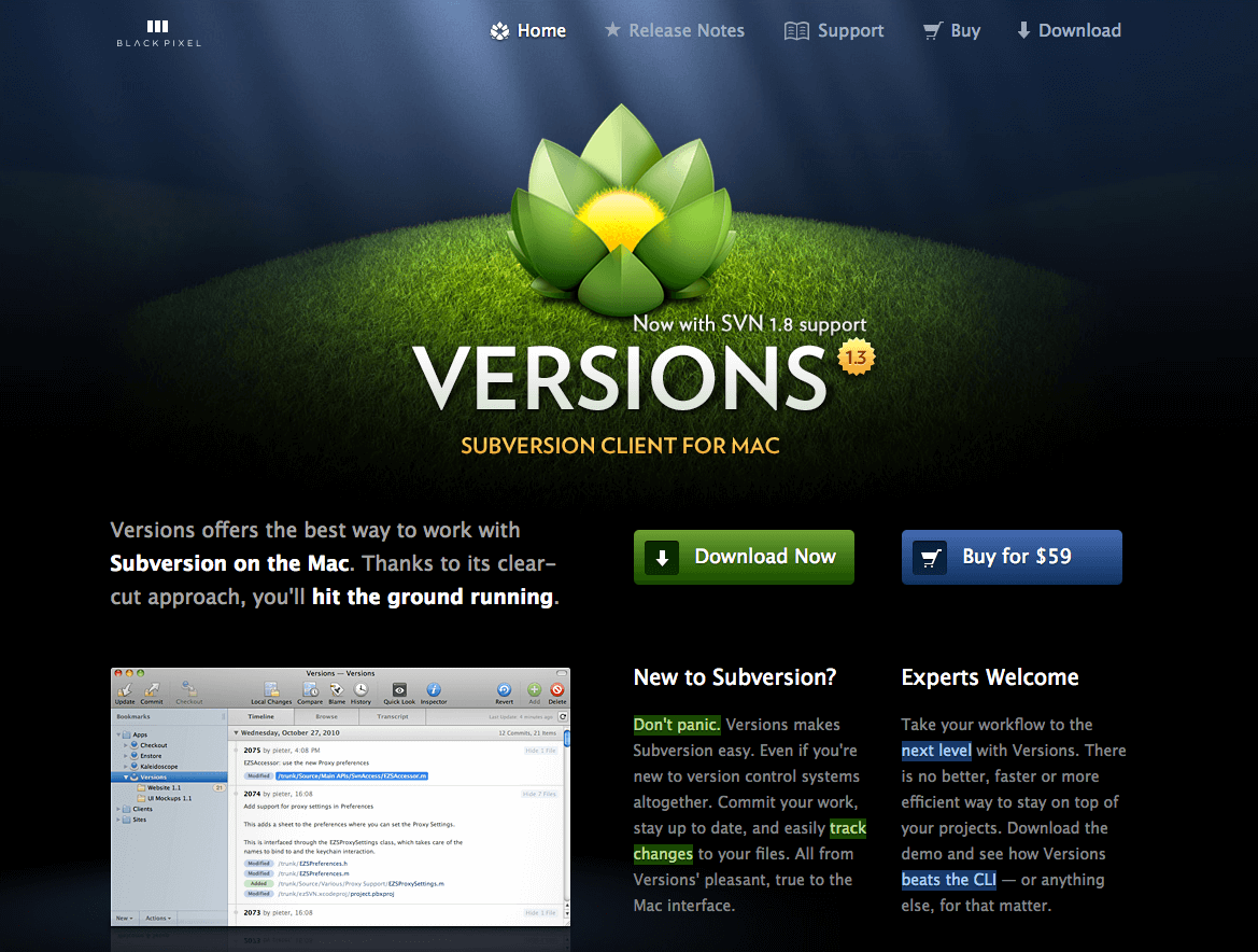 versions homepage screenshot