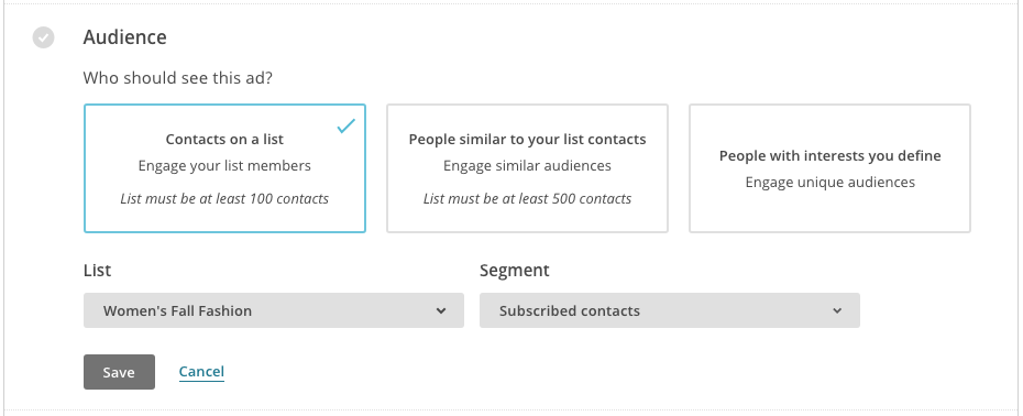 Audience Contacts on a List