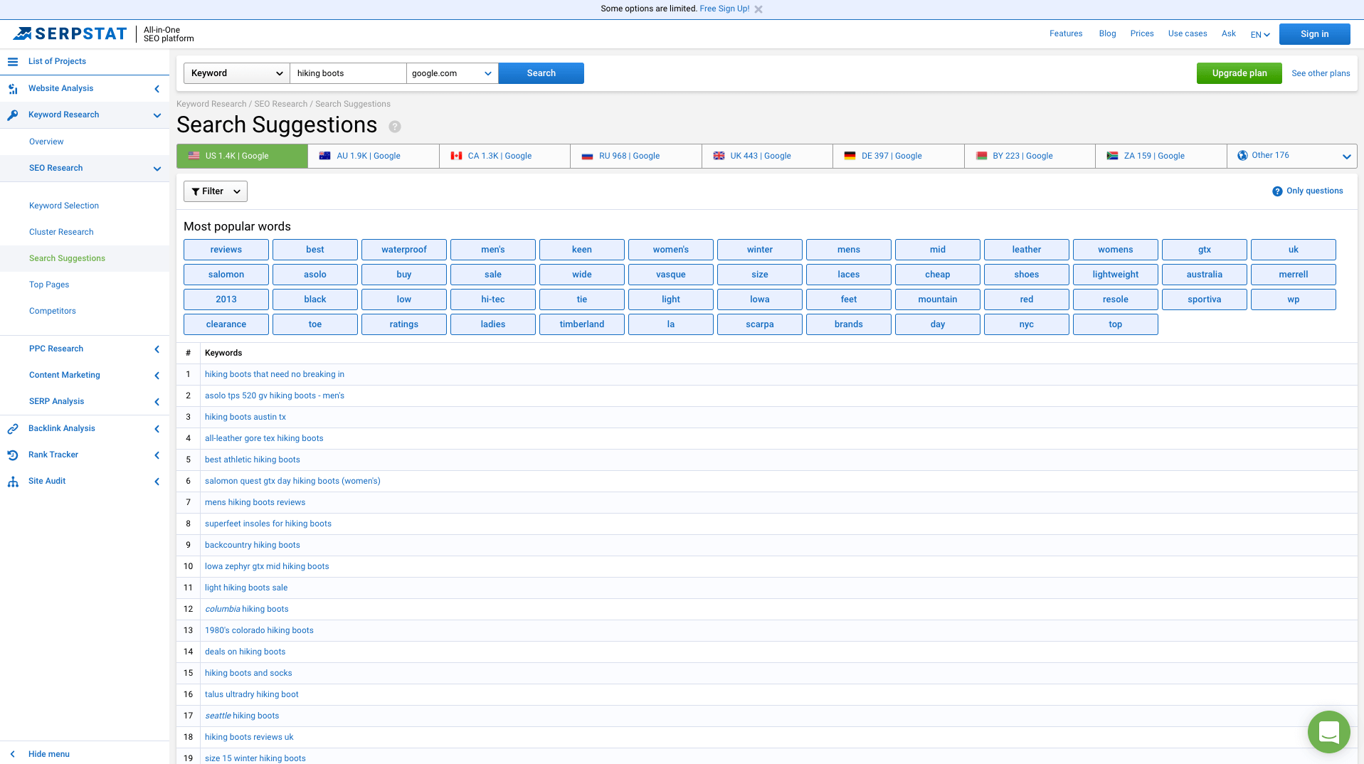 Serpstat search suggestions