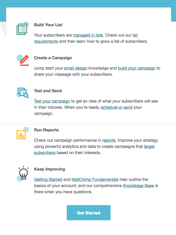 welcome email from MailChimp