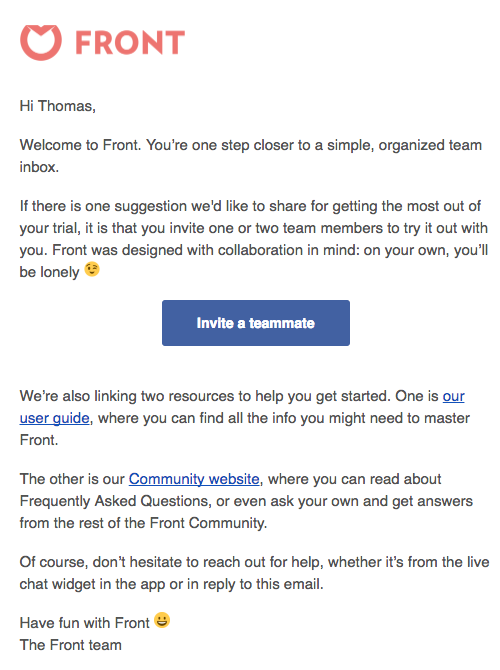 frontapp welcome email