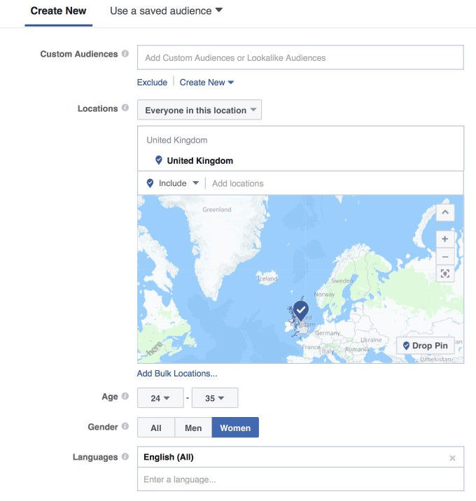Initial Facebook targeting options