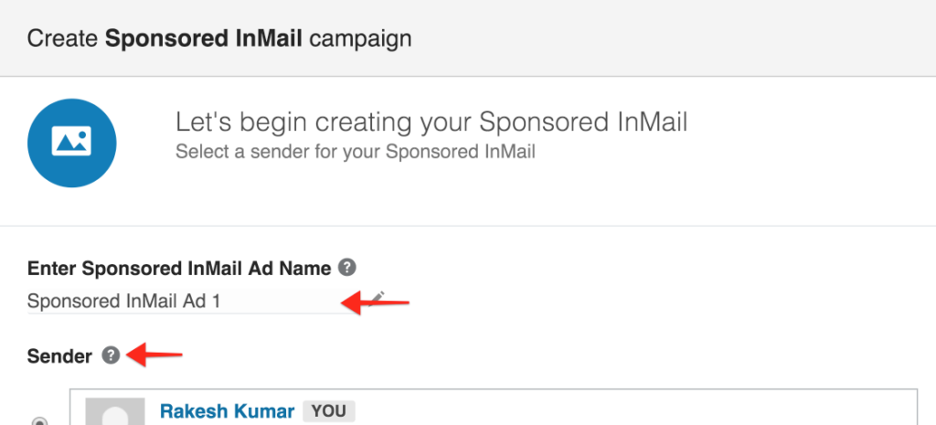 Picking a Name and Sender for InMail Ads