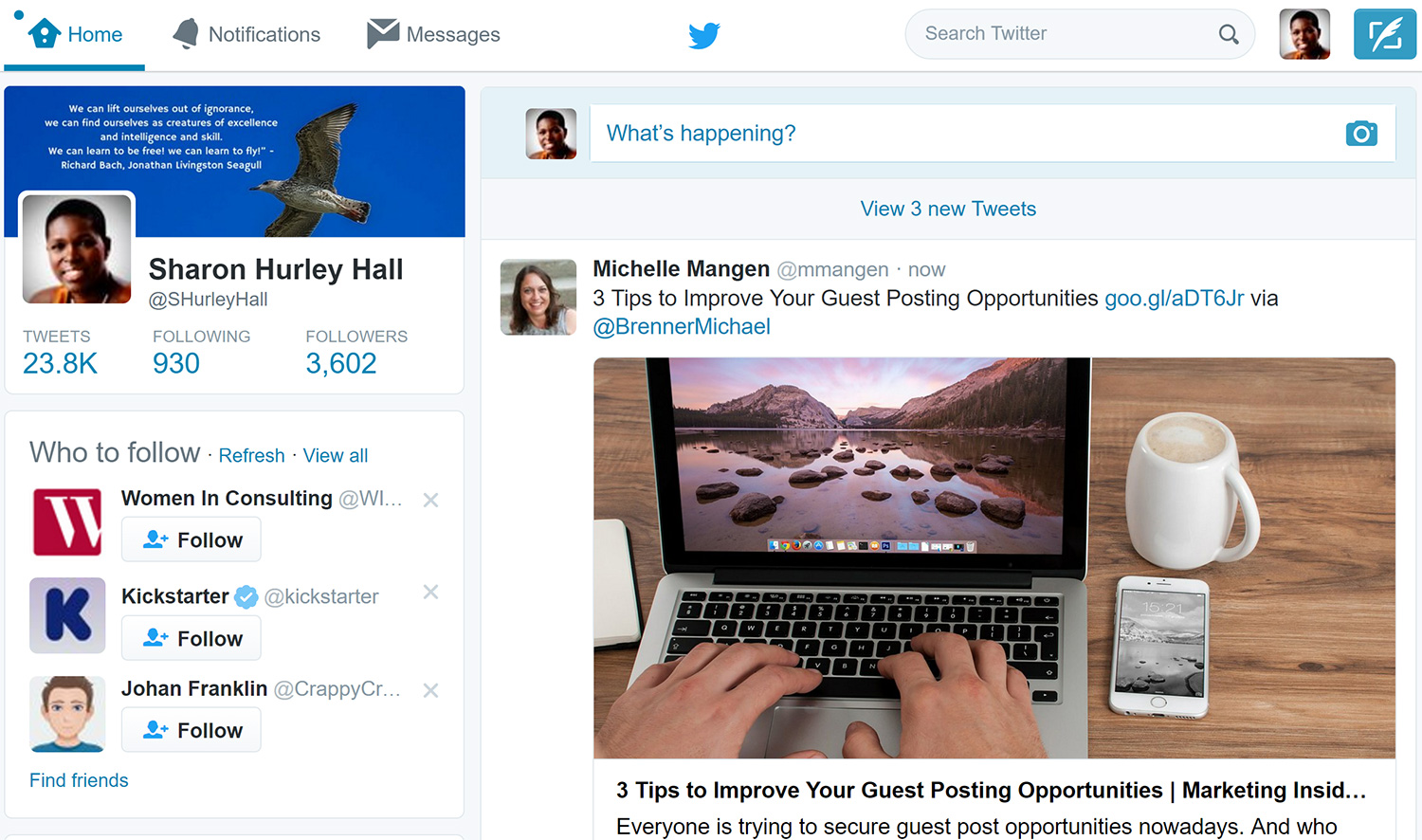 twitter timeline interface
