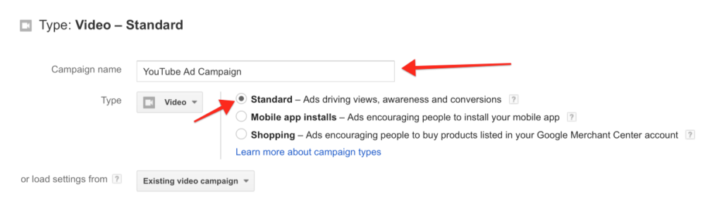 setting up standard video ads