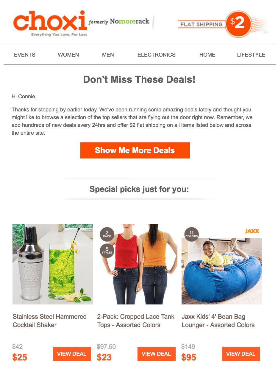 ecommerce email example