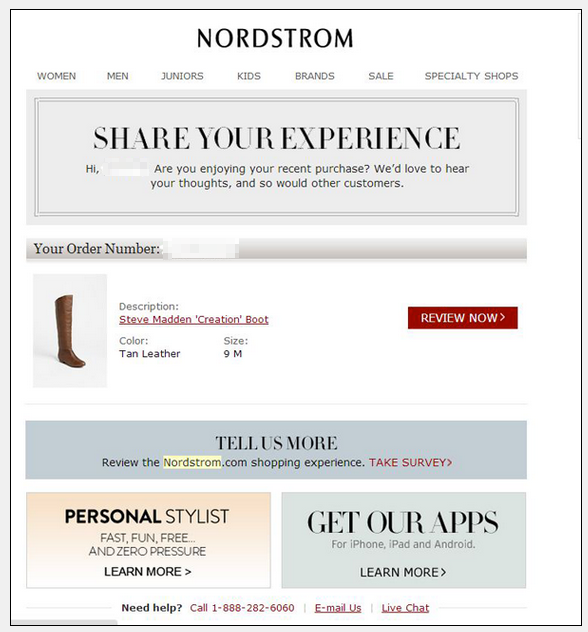 Nordstrom post-purchase experience